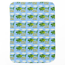 Jesus Is My Pilot (Green and Yellow Helicopters) Swaddle Blanket