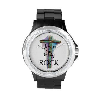Jesus is my Rock Rhinestone Watch Wristwatch
