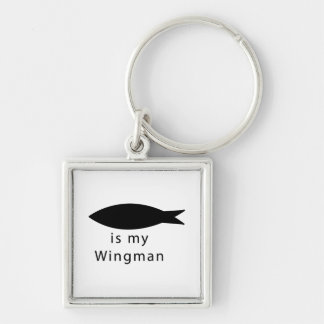 Jesus Is My Wingman Silver-Colored Square Keychain