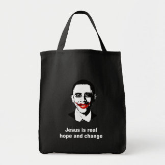 JESUS IS REAL HOPE AND CHANGE CANVAS BAGS