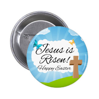 Jesus is Risen, Christian Easter Pinback Button