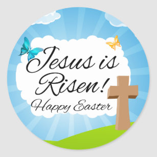 Christian easter gifts on zazzle jesus is risen christian easter classic round sticker negle Images