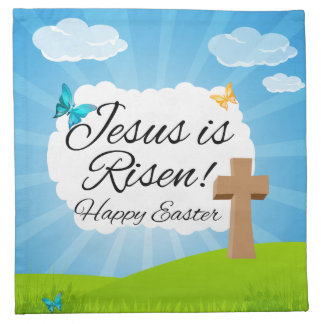 Jesus is Risen, Christian Easter Cloth Napkin