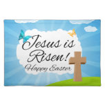 Jesus is Risen, Christian Easter Cloth Placemat