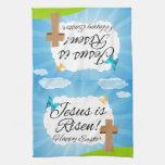 Jesus is Risen, Christian Easter Kitchen Towel