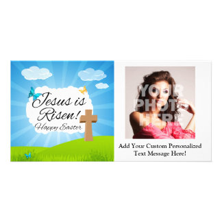 Jesus is Risen, Christian Easter Personalized Photo Card