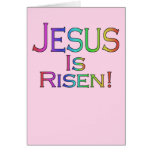 Jesus Is Risen! (rainbow on pink) easter card