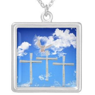 Jesus is Risen - white dove & three crosses Silver Plated Necklace