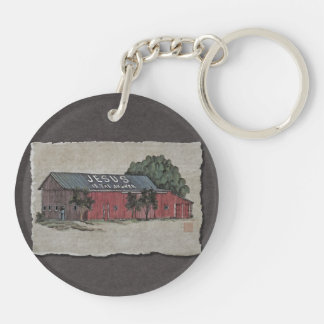 Jesus Is The Answer Barn Keychain