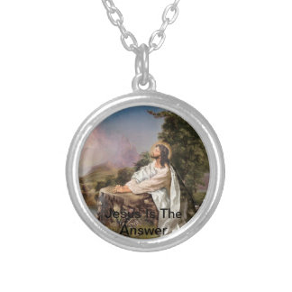 Jesus Is The Answer Round Pendant Necklace