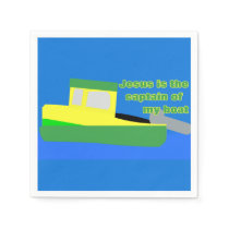 Jesus Is the Captain of My Boat (Green and Yellow) Paper Napkin