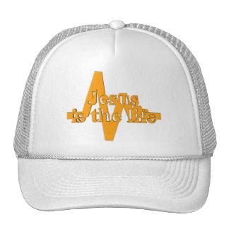 Jesus is the life orange trucker hat