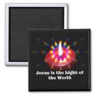 Jesus Is The Light Of The World Red Candle Refrigerator Magnets