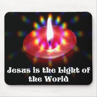 Jesus Is The Light Of The World Red Candle Mouse Pad