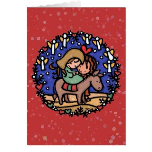 Jesus is the reason.Baby. Folk art Christmas RED Card