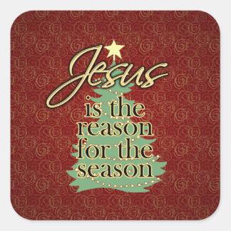Jesus is the Reason Christian Christmas Square Sticker