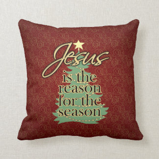 Jesus is the Reason Christian Christmas Throw Pillow