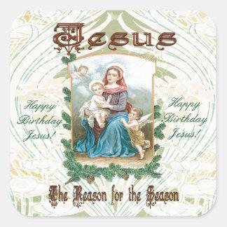 Jesus is the Reason for Season Square Sticker