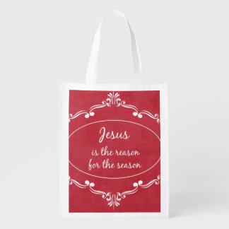 Jesus is the reason for the Season Christmas Reusable Grocery Bag