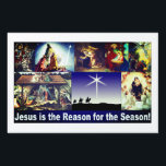 """Jesus is the reason for the season! lawn sign<br><div class=""""desc"""">Jesus is the reason for the season Christmas Nativity yard sign very popular because of it&#39;s rich colors and many depictions of the Nativity.</div>"""