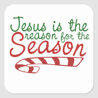 Jesus is the Reason for the Season Square Stickers