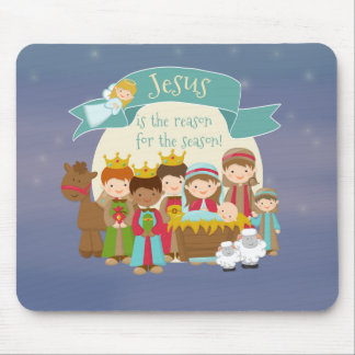 """""""Jesus is the Reason"""" Nativity Christmas Mouse Pad"""