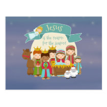 """Jesus is the reason"" Nativity Post Card"