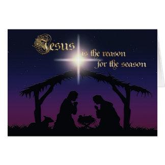 Jesus is the reason Nativity Scene Christmas Card Cards