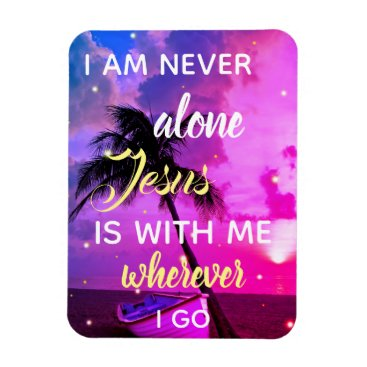 Beach Themed Jesus Is With Me | Beach Palm Tree Colorful Magnet