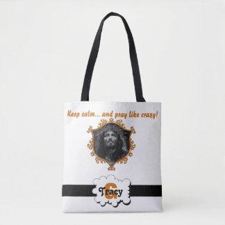Jesus Keep calm and pray like crazy monograms bag. Tote Bag