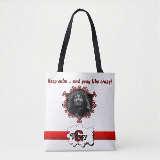 Jesus Keep calm & pray like crazy monogram bag.b2 Tote Bag