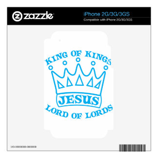 JESUS king of kings light blue iPhone 3 Decal