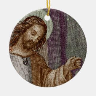 Jesus Knocking on Door Double-Sided Ceramic Round Christmas Ornament