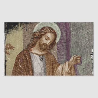 Jesus Knocking on Door Rectangular Sticker