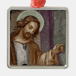 Jesus Knocking on Door Square Metal Christmas Ornament