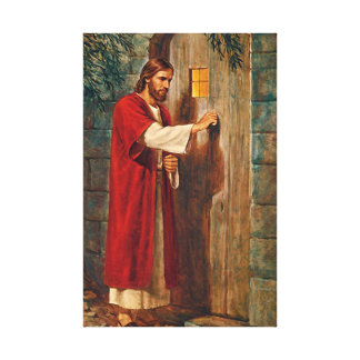 Jesus Knocks On The Door Canvas Print