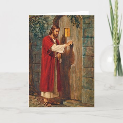 Jesus Knocks On The Door Custom Blank Card