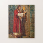 """Jesus knocks On The Door Jigsaw Puzzle<br><div class=""""desc"""">Here Jesus is knocking at a door. He says &#39;Behold! I stand at the door and knock. If anyone hears my voice and opens the door,  I will come in and dine with him,  and him with me.&#39;   From Revelations 3:20</div>"""