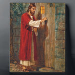 "Jesus knocks On The Door Plaque<br><div class=""desc"">Here Jesus is knocking at a door. He says &#39;Behold! I stand at the door and knock. If anyone hears my voice and opens the door,  I will come in and dine with him,  and him with me.&#39;   From Revelations 3:20</div>"