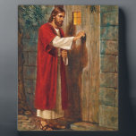 """Jesus knocks On The Door Plaque<br><div class=""""desc"""">Here Jesus is knocking at a door. He says &#39;Behold! I stand at the door and knock. If anyone hears my voice and opens the door,  I will come in and dine with him,  and him with me.&#39;   From Revelations 3:20</div>"""