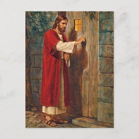 Jesus Knocks On The Door Postcard
