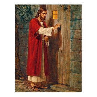 Jesus Knocks On The Door Postcard