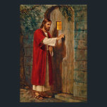 "Jesus knocks On The Door Poster<br><div class=""desc"">Here Jesus is knocking at a door. He says &#39;Behold! I stand at the door and knock. If anyone hears my voice and opens the door,  I will come in and dine with him,  and him with me.&#39; From Revelations 3:20</div>"