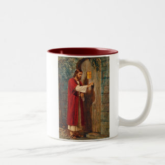 Jesus Knocks On The Door Two-Tone Coffee Mug