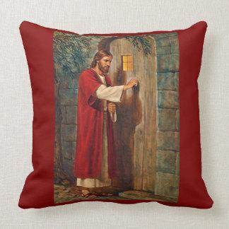 Jesus Knocks On The Door with Full Verse Throw Pillow