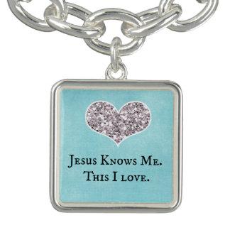 Jesus Knows Me, this I Love Quote Charm Bracelets