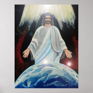 Jesús, la luz de la tierra cristiana del arte del  póster