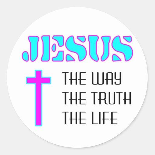 Jesús la manera la verdad la vida pegatina redonda