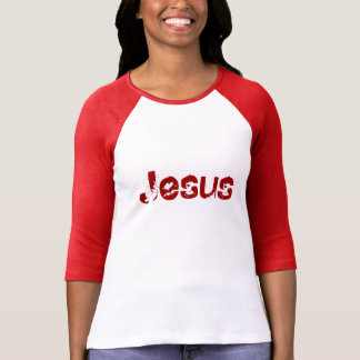"""Jesus"" Ladies 3/4 Sleeve Raglan White/Crimson Tee Shirt"