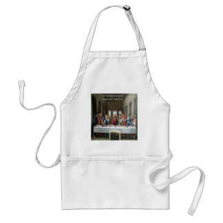 """Jesus @ Last Supper """"Love One Another"""" Quote Adult Apron"""